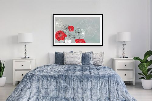 תמונה לחדר שינה - נעמי עיצובים - פרחי מים אפור - מק''ט: 160918