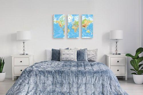 תמונה לחדר שינה - מפות העולם - מפה של העולם פיזית - מק''ט: 198956