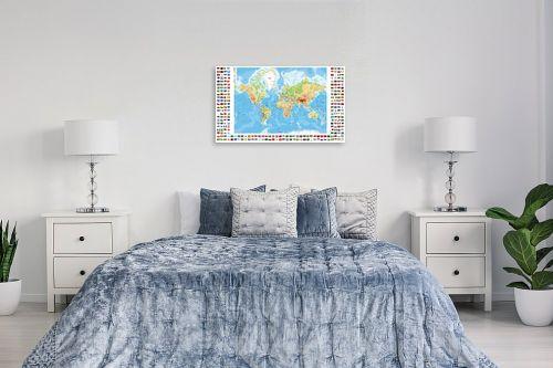 תמונה לחדר שינה - מפות העולם - מפת העולם עם דגלי ארצות - מק''ט: 198959