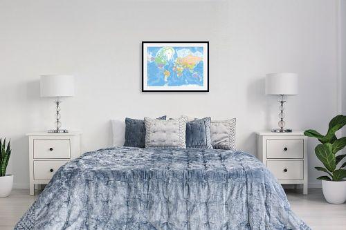 תמונה לחדר שינה - מפות העולם - מפת עולם מדינית - מק''ט: 201304
