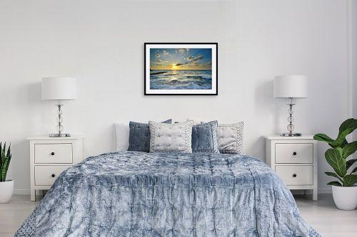 תמונה לחדר שינה - רן זיסוביץ - שקיעה על הגלים - מק''ט: 208125