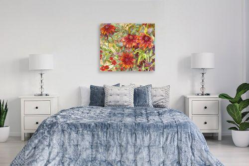 תמונה לחדר שינה - חיה וייט - חרציות אדומות - מק''ט: 213150