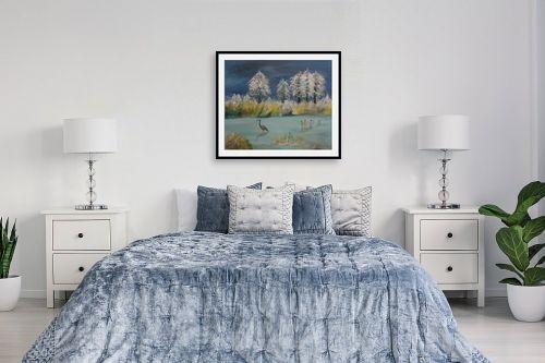 תמונה לחדר שינה - רינה יניב - חורף באגם - מק''ט: 285642