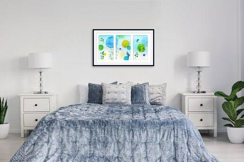 תמונה לחדר שינה - נעמי עיצובים - כתמי צבע בחלל - מק''ט: 304664