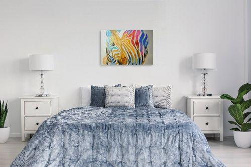 תמונה לחדר שינה - Artpicked - זברה צבעונית - מק''ט: 329698