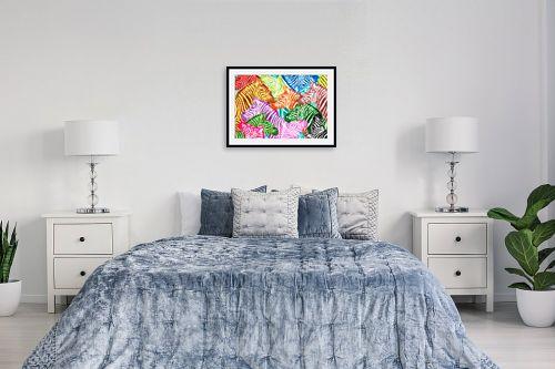 תמונה לחדר שינה - Artpicked - זברות בצבעים - מק''ט: 329701