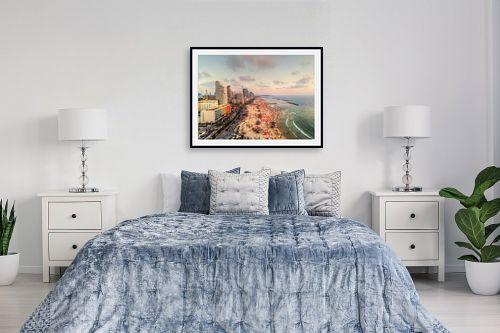 תמונה לחדר שינה - מתן הירש - חוף תל אביב בשקיעה - מק''ט: 332260