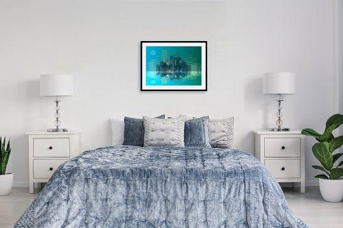 תמונה לחדר שינה - Artpicked - עיר בכחול - מק''ט: 332996
