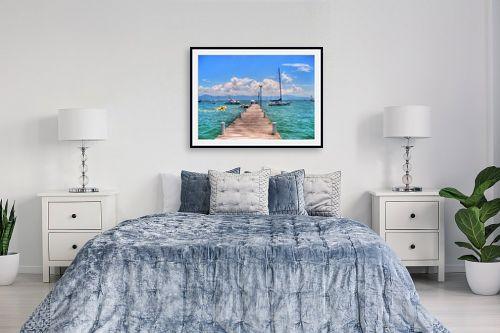תמונה לחדר שינה - מתן הירש - רציף, סירות וים - מק''ט: 336116
