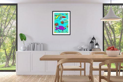 תמונה לפינת אוכל - יונה ראובני - דגים - מק''ט: 132777