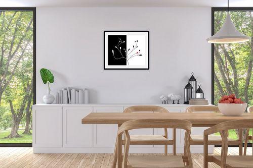 תמונה לפינת אוכל - נעמי עיצובים - שלכת שני חלקים שחור לבן - מק''ט: 157605