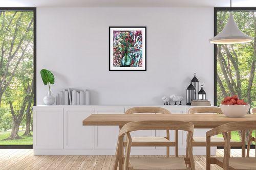 תמונה לפינת אוכל - בן רוטמן - פרחים באגרטל זכוכית - מק''ט: 158308