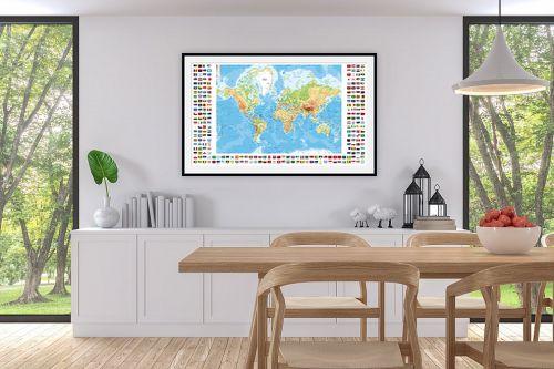 תמונה לפינת אוכל - מפות העולם - מפת העולם עם דגלי ארצות - מק''ט: 198959