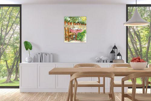 תמונה לפינת אוכל - חיה וייט - שולחן ועציצי בזיליקום - מק''ט: 213223