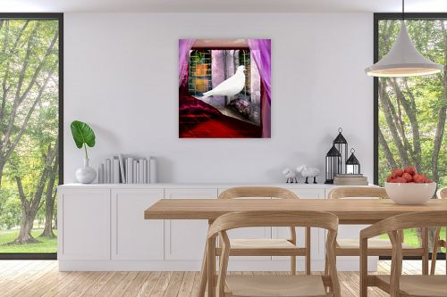 תמונה לפינת אוכל - נריה איטקין - יונה לבנה בחלון - מק''ט: 229845