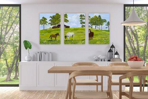 תמונה לפינת אוכל - נריה ספיר - סוסים באחו - מק''ט: 284498