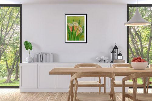 תמונה לפינת אוכל - רינה יניב - פרחי קאלות - מק''ט: 285640
