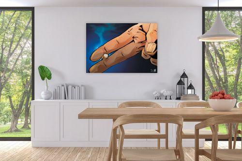 תמונה לפינת אוכל - חנן אביסף - אצבעות מחזיקות סיגריה - מק''ט: 302948