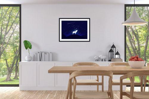 תמונה לפינת אוכל - Artpicked - אייל וכוכבים - מק''ט: 329681