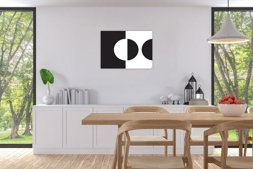 תמונה לפינת אוכל - אתי דגוביץ' - עיגול שחור לבן - מק''ט: 99346