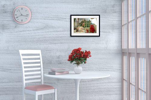 תמונה לפינת אוכל - אורלי שטטינר - חצאית אדומה ופרחים בחלון - מק''ט: 145812