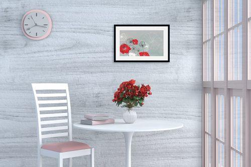 תמונה לפינת אוכל - נעמי עיצובים - פרחי מים אפור - מק''ט: 160918
