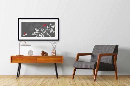 תמונה לחדרי המתנה - נעמי עיצובים - ציפור אודם - מק''ט: 159899