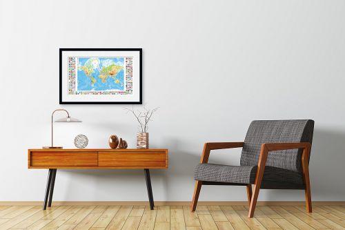 תמונה לחדרי המתנה - מפות העולם - מפת העולם עם דגלי ארצות - מק''ט: 198959