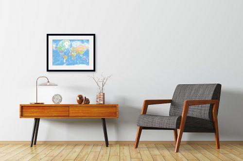 תמונה לחדרי המתנה - מפות העולם - מפת עולם מדינית - מק''ט: 201304