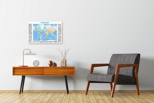 תמונה לחדרי המתנה - מפות העולם - World map with flags - מק''ט: 201306