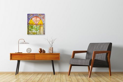 תמונה לחדרי המתנה - חיה וייט - חלון ירושלמי צבעוני - מק''ט: 213114