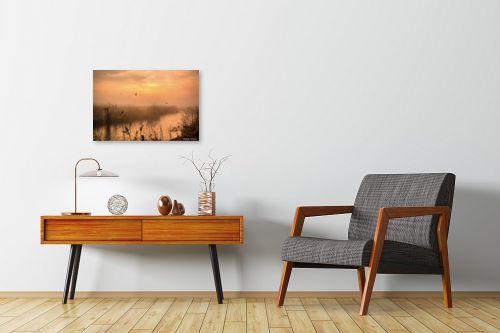 תמונה לחדרי המתנה - איזבלה אלקבץ - בוקר ערפלי באגמון - מק''ט: 278651