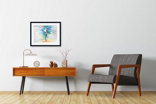 תמונה לחדרי המתנה - חיה וייט - ציפור עם תפוח וצל - מק''ט: 308749