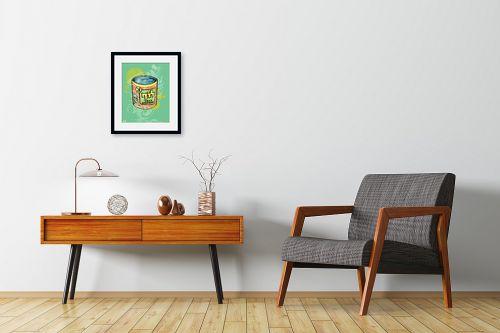 תמונה לחדרי המתנה - חנן אביסף - קופסת לוף - רקע ירוק - מק''ט: 53100