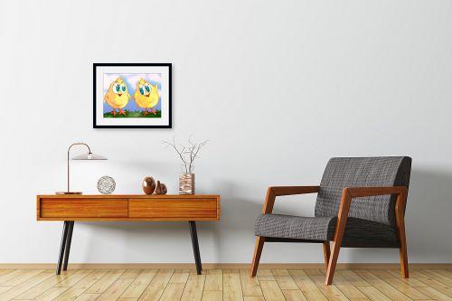 תמונה לחדרי המתנה - חנן אביסף - שני אפרוחים צהובים - מק''ט: 53173
