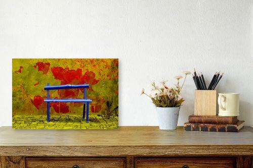 תמונה לשולחן - ציפי נוימן - ספסל בשדה פרחים - מק''ט: 174397
