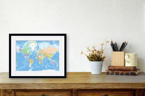 תמונה לשולחן - מפות העולם - מפת עולם מדינית - מק''ט: 201304