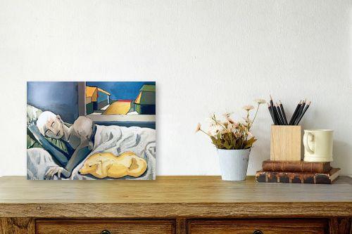 תמונה לשולחן - MMB Art Studio - A Man and a Dog resting  - מק''ט: 223196