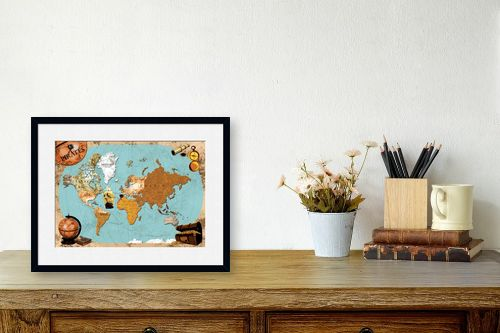 תמונה לשולחן - מפות העולם - Pirates map - מק''ט: 240814