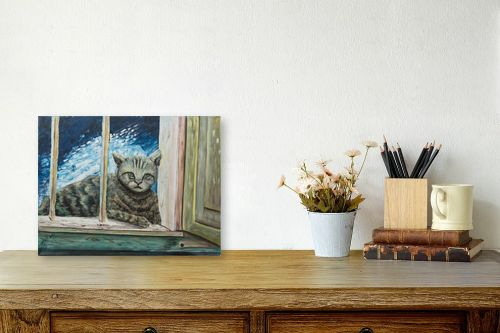 תמונה לשולחן - דיאנה אורן - חתולה בחלוני - מק''ט: 315861