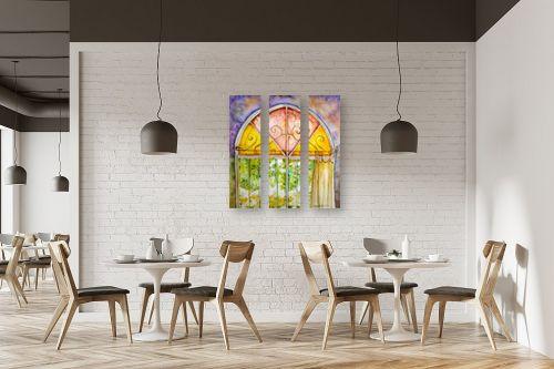 תמונה למסעדה - חיה וייט - חלון ירושלמי צבעוני - מק''ט: 213114