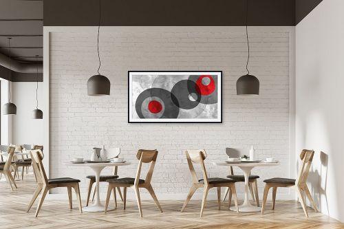 תמונה למסעדה - נעמי עיצובים - צורות בחלל אפור אדום - מק''ט: 304876