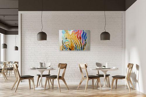 תמונה למסעדה - Artpicked - זברה צבעונית - מק''ט: 329698