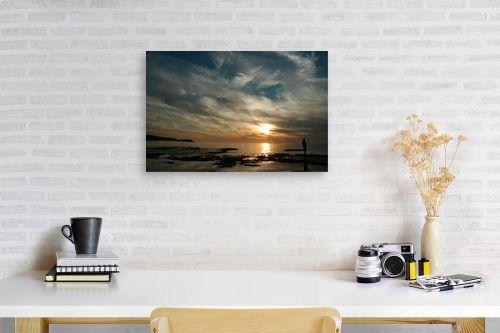 תמונה לפינת עבודה - אבנר ירון - שקיעה בחוף פלמחים - מק''ט: 14087
