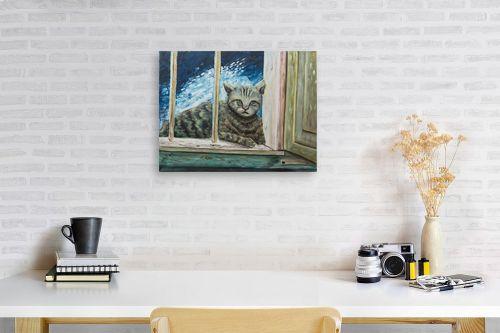 תמונה לפינת עבודה - דיאנה אורן - חתולה בחלוני - מק''ט: 315861