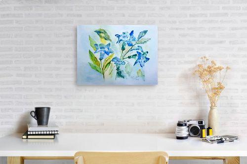 תמונה לפינת עבודה - רינה יניב - פרחים בכחול - מק''ט: 327826