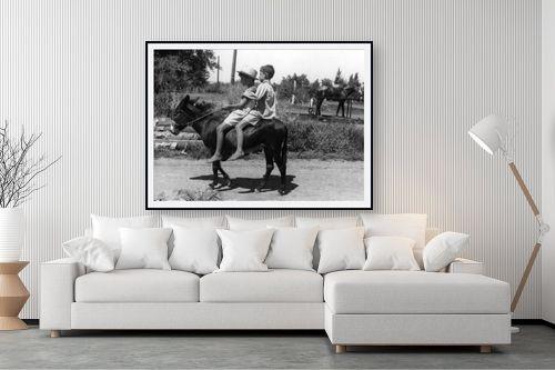 תמונה לסלון - דוד לסלו סקלי - עין חרוד 1947 ילדים וחמור - מק''ט: 142669