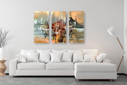 תמונה לסלון - בן רוטמן - צללית של עיר בנהר - מק''ט: 149041