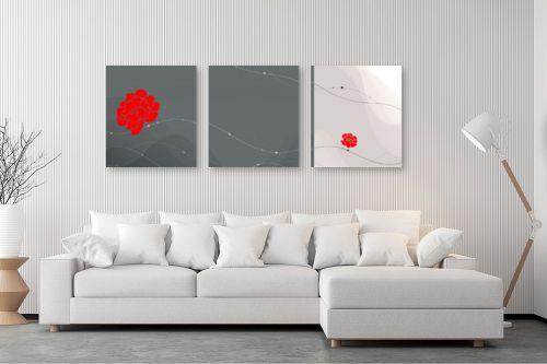 תמונה לסלון - נעמי עיצובים - פרחים באדום - מק''ט: 168755
