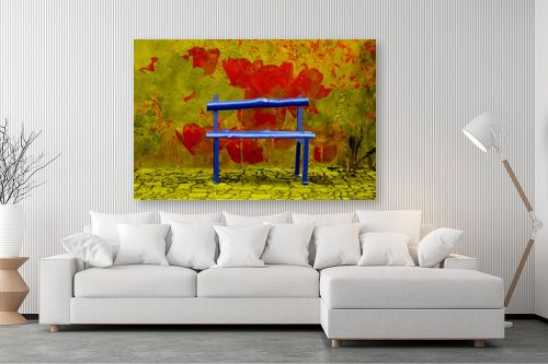תמונה לסלון - ציפי נוימן - ספסל בשדה פרחים - מק''ט: 174397